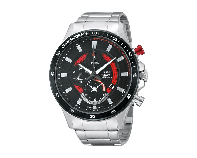ALBA Men's Hand Watch ACTIVE Stainless Steel Band , Black Dial AF8S53X1