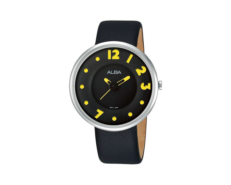 ALBA Ladies' Hand Watch FASHION Black Leather Strap , Black Patterned Dial AH8209X1