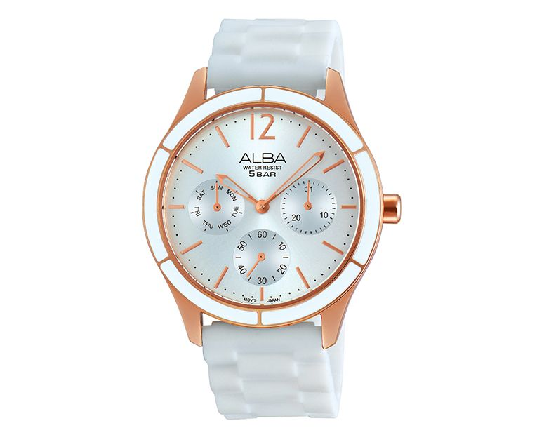 ALBA Ladies' Hand Watch FASHION White Silicone Strap and Silver Dial AP6330X1