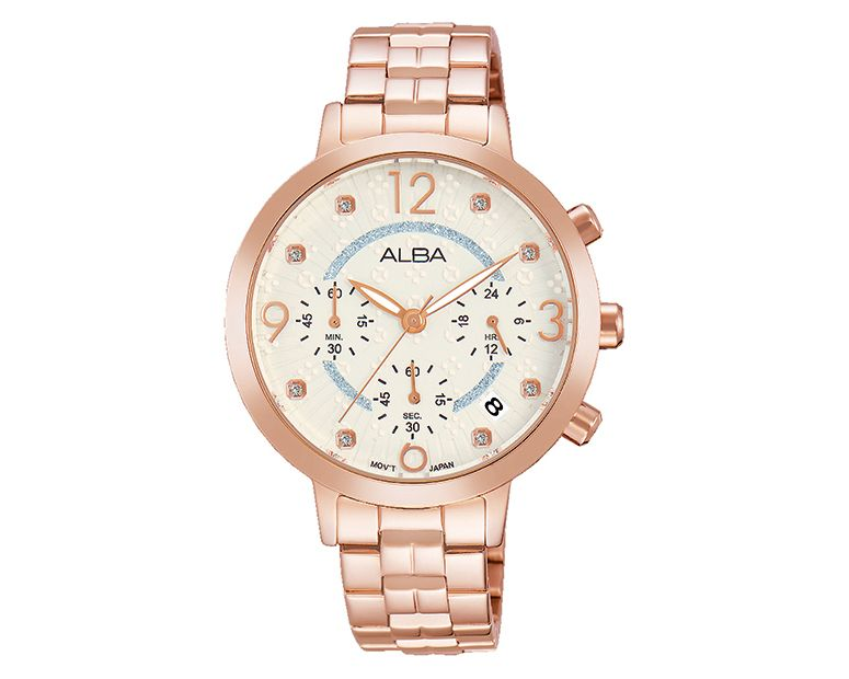 ALBA Ladies' Hand Watch FASHION Stainless Steel Bracelet and Silver White Patterned Dial AT3932X1