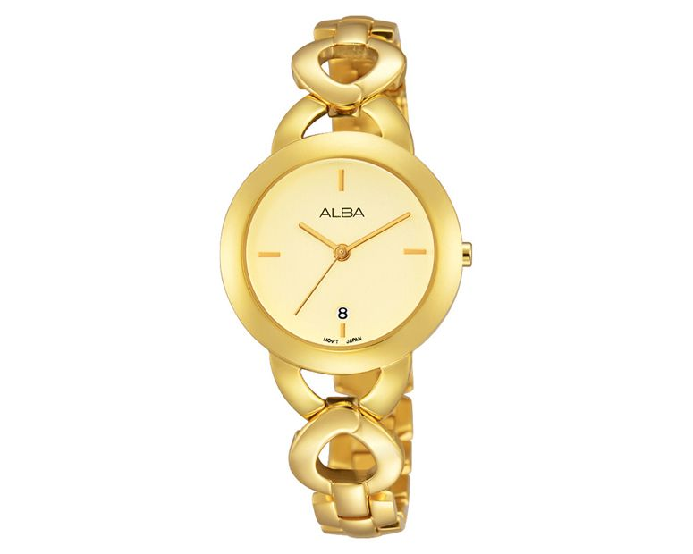 ALBA Ladies' Hand Watch FASHION Golden Stainless Steel Bracelet and Champagne Dial AH7J04X1