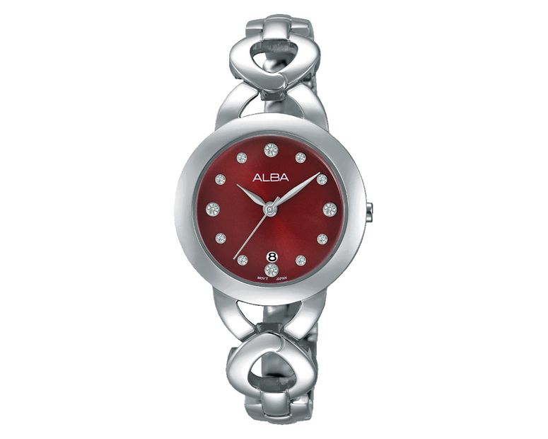 ALBA Ladies hand watch Fashion Stainless steel band & Red dial AH7H05X1
