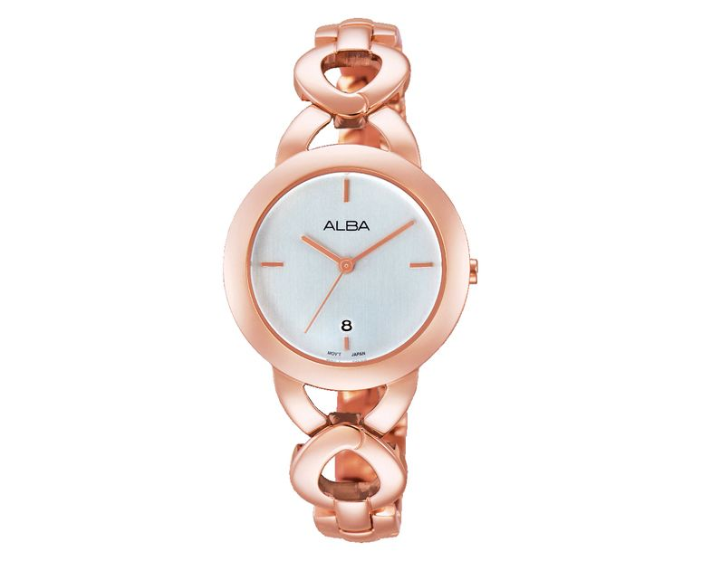 ALBA Ladies' Hand Watch FASHION Stainless Steel Bracelet and Silver White Dial AH7G92X1