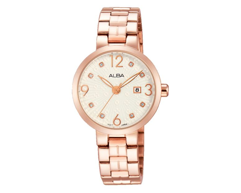 ALBA Ladies' Hand Watch FASHION Stainless Steel Bracelet and Silver White Patterned Dial AH7H78X1