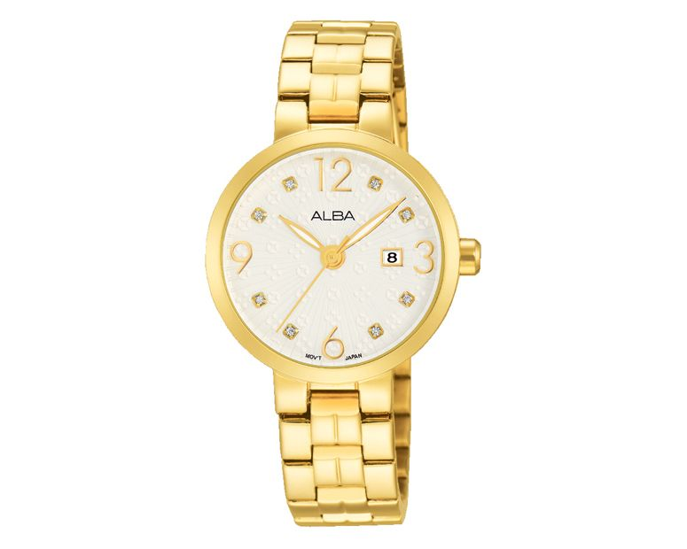 ALBA Ladies' Hand Watch FASHION Golden Stainless Steel Bracelet and Silver White Patterned Dial AH7H80X1