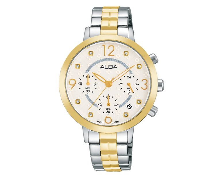 ALBA Ladies' Hand Watch FASHION Stainless Steel Bracelet and Silver White Patterned Dial AT3936X1