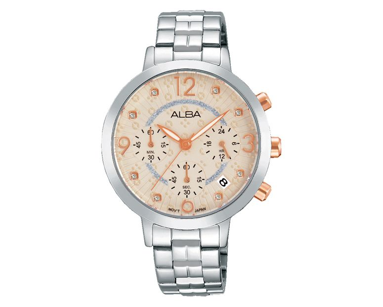 ALBA Ladies' Hand Watch FASHION Stainless Steel Bracelet and Nude Patterned Dial AT3937X1