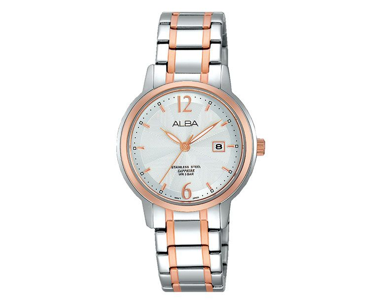 ALBA Ladies' Hand Watch PRESTIGE Stainless Steel Bracelet and Silver White Patterned Dial AH7G78X1