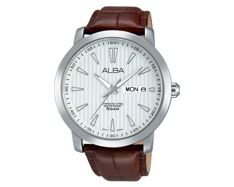 ALBA Men's Hand Watch PRESTIGE Brown Leather Strap , Silver Dial AT2021X1