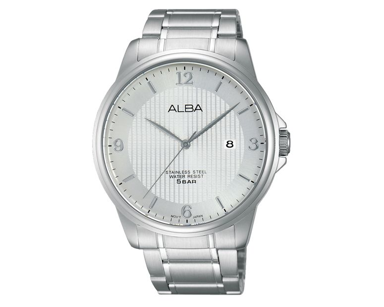 ALBA Men's Hand Watch PRESTIGE Stainless Steel Bracelet and Silver White Patterned Dial AS9B13X1