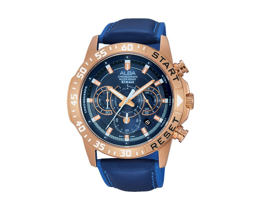 ALBA Men's Hand Watch ACTIVE Blue Leather Strap , Blue Dial AT3900X1