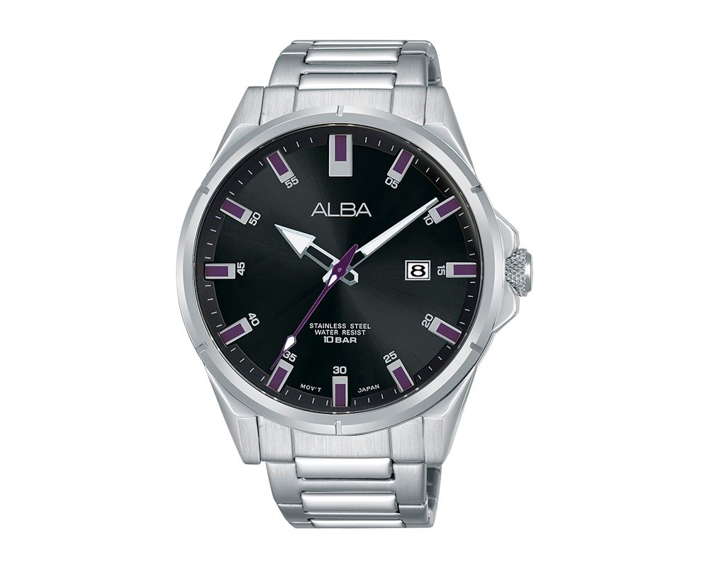 ALBA Men's Hand Watch ACTIVE Stainless Steel Bracelet and Black Dial AS9E31X1