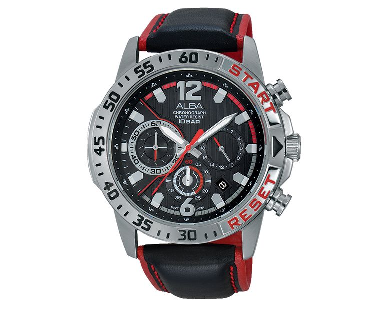 ALBA Men's Hand Watch ACTIVE Black Leather Strap , Black Dial AT3903X1