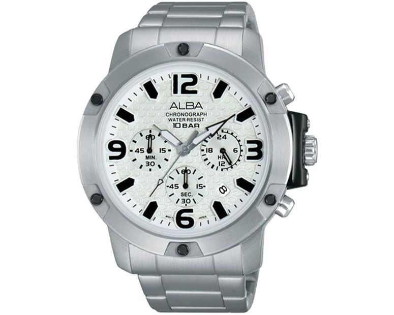 ALBA Men's Hand Watch ACTIVE Stainless Steel Bracelet , Silver Dial AT3805X1