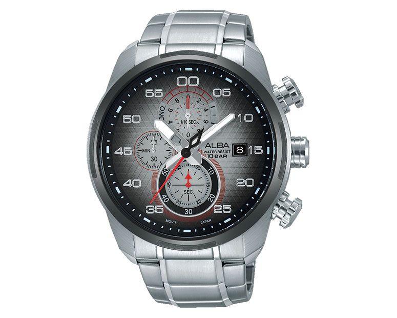 ساعة يد ألبا رجالي اكتيف سوار استانلس ستيل ، مينا رمادي × أسود AM3235X1