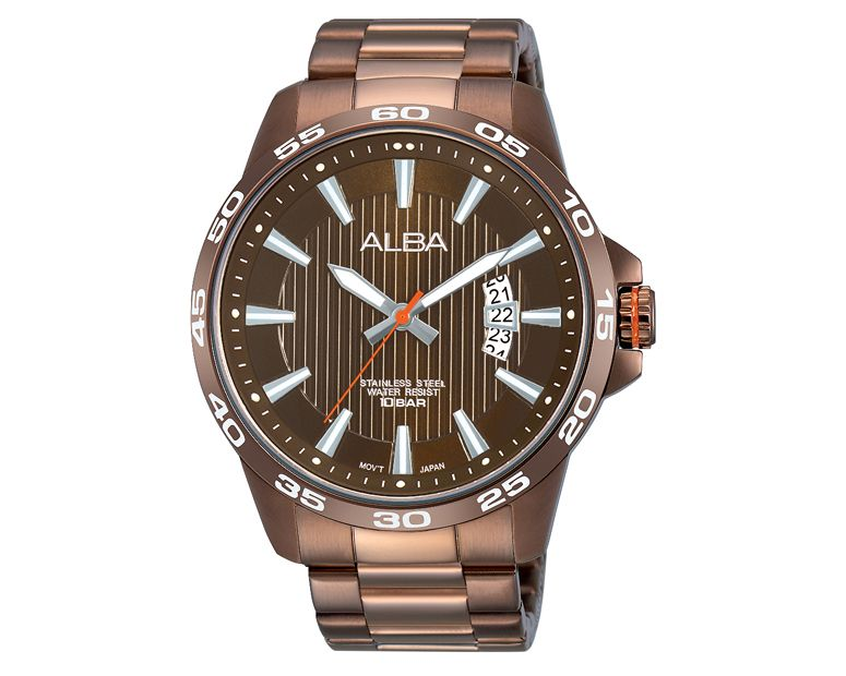 ALBA Men's Hand Watch ACTIVE Stainless Steel Bracelet , Brown Dial AS9995X1