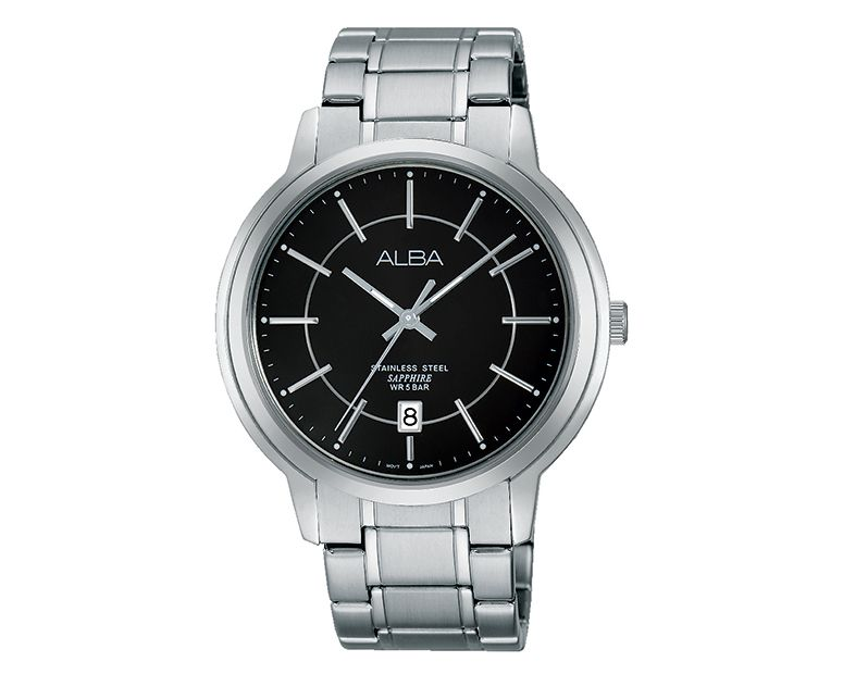 ALBA Men's Hand Watch PRESTIGE Stainless Steel Bracelet and Black Dial AS9A51X1