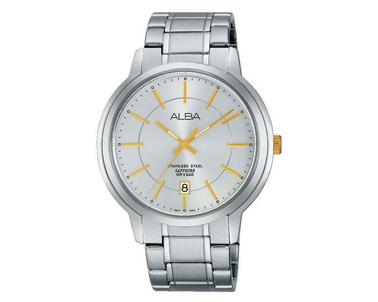 ALBA Men's Hand Watch PRESTIGE Stainless Steel Bracelet and Silver White Dial AS9A49X1