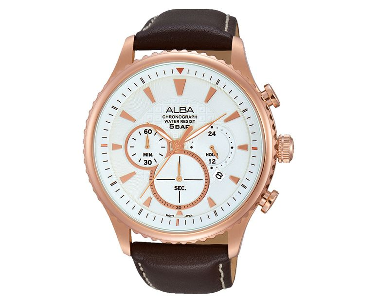 ALBA Men's Hand Watch PRESTIGE Brown Leather Strap , Silver Dial AT3864X1