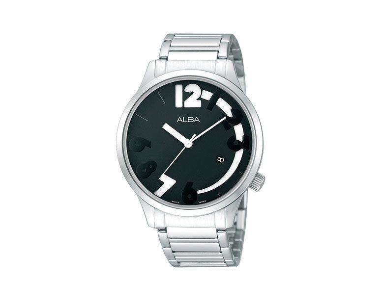 ساعة يد ألبا حريمي فاشون سوار استانلس ستيل ، مينا أسود × أبيض AG8321X1