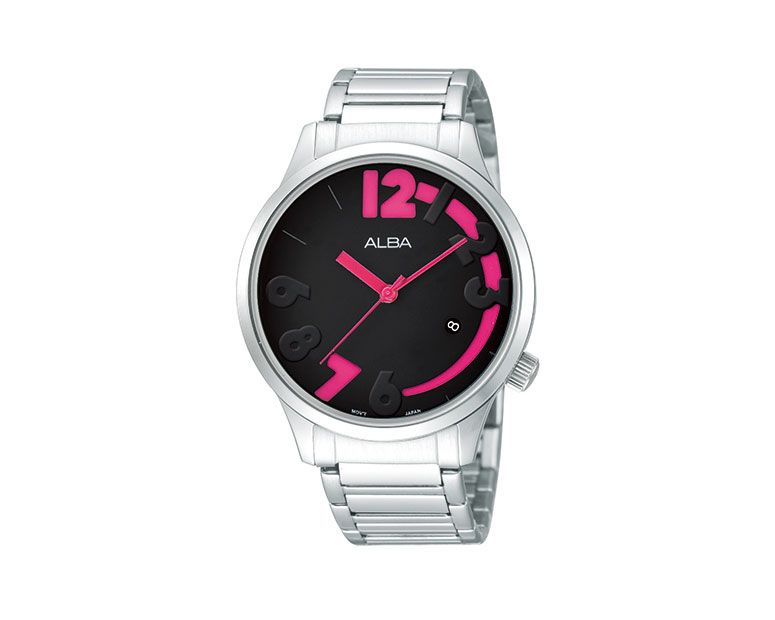 ALBA Ladies' Hand Watch FASHION Stainless Steel Band , Black X Cherry Dial AG8327X1