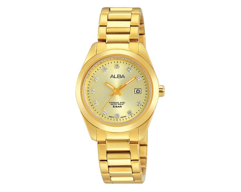 ALBA Ladies' Hand Watch FASHION Stainless Steel Bracelet , Champagne Dial AH7G64X1
