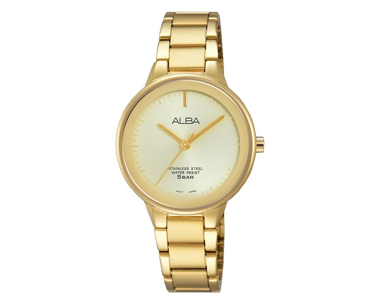 ALBA Ladies' Hand Watch FASHION Stainless Steel Bracelet , Champagne Dial ARSY70X1