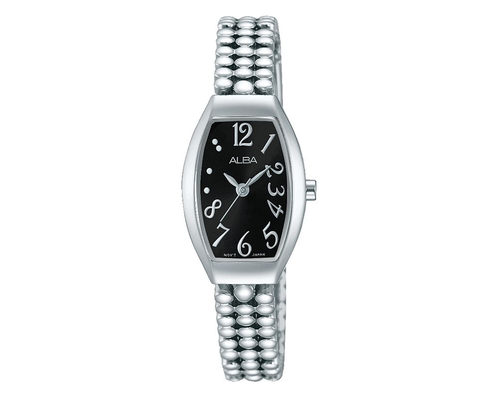 ALBA Ladies' Hand Watch Fashion Stainless Steel Band & Black Dial AH8257X1