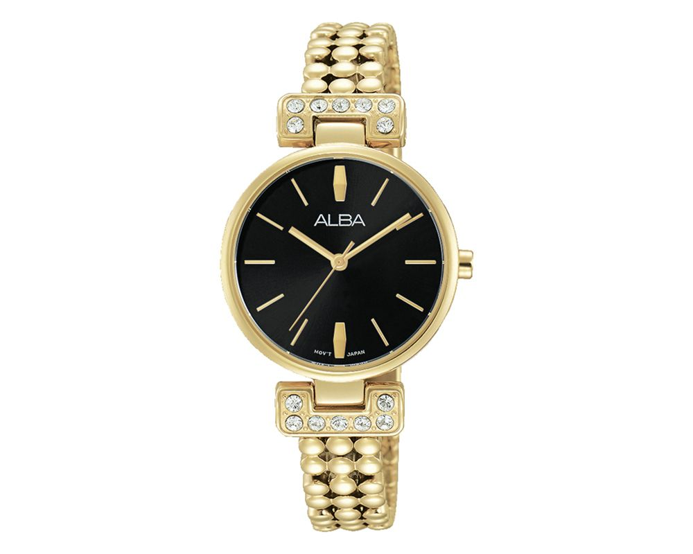ALBA Ladies' Hand Watch Fashion Stainless Steel Band & Black Dial AH8276X1