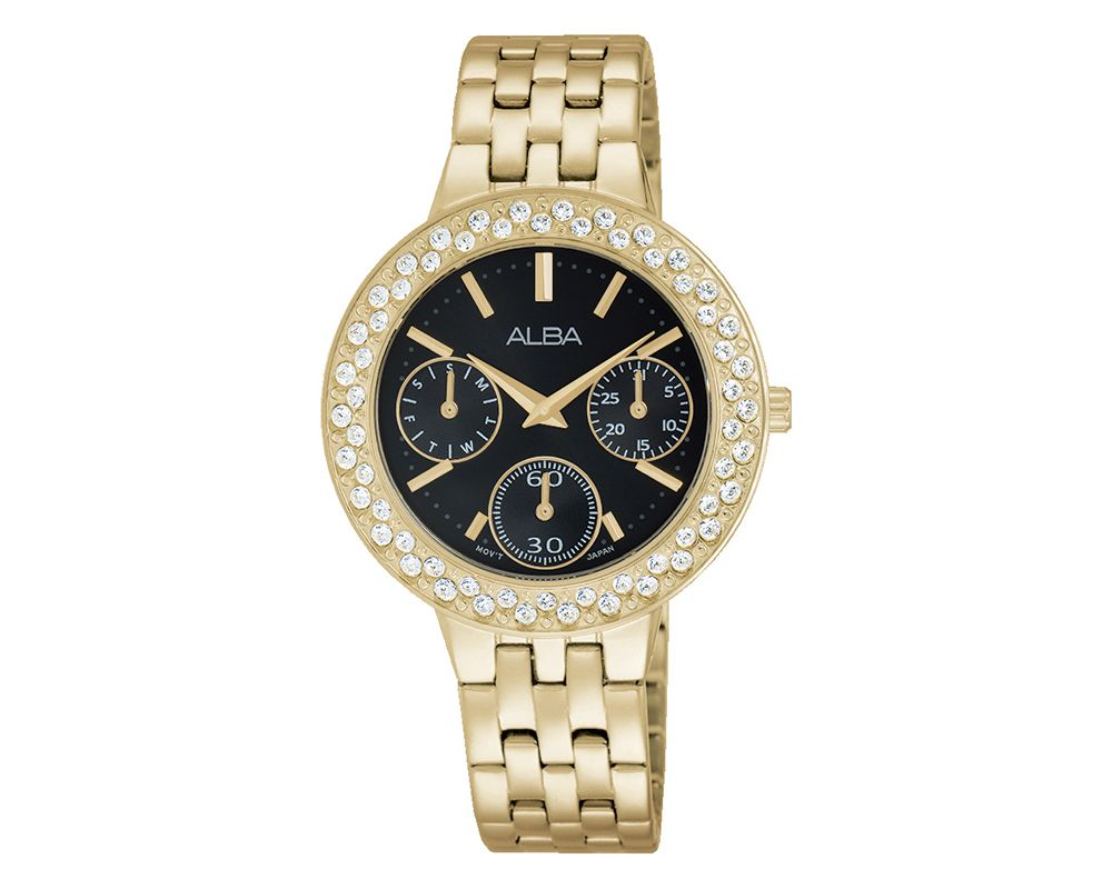 ALBA Ladies' Hand Watch Fashion Stainless Steel Band & Black Dial AP6454X1