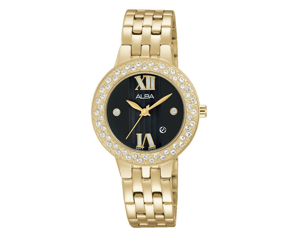 ALBA Ladies' Hand Watch Fashion Stainless Steel Band & Black Patterned Dial AH7H38X1