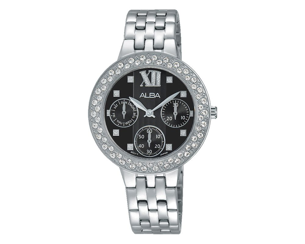 ALBA Ladies' Hand Watch Fashion Stainless Steel Band & Black Patterned Dial AP6461X1