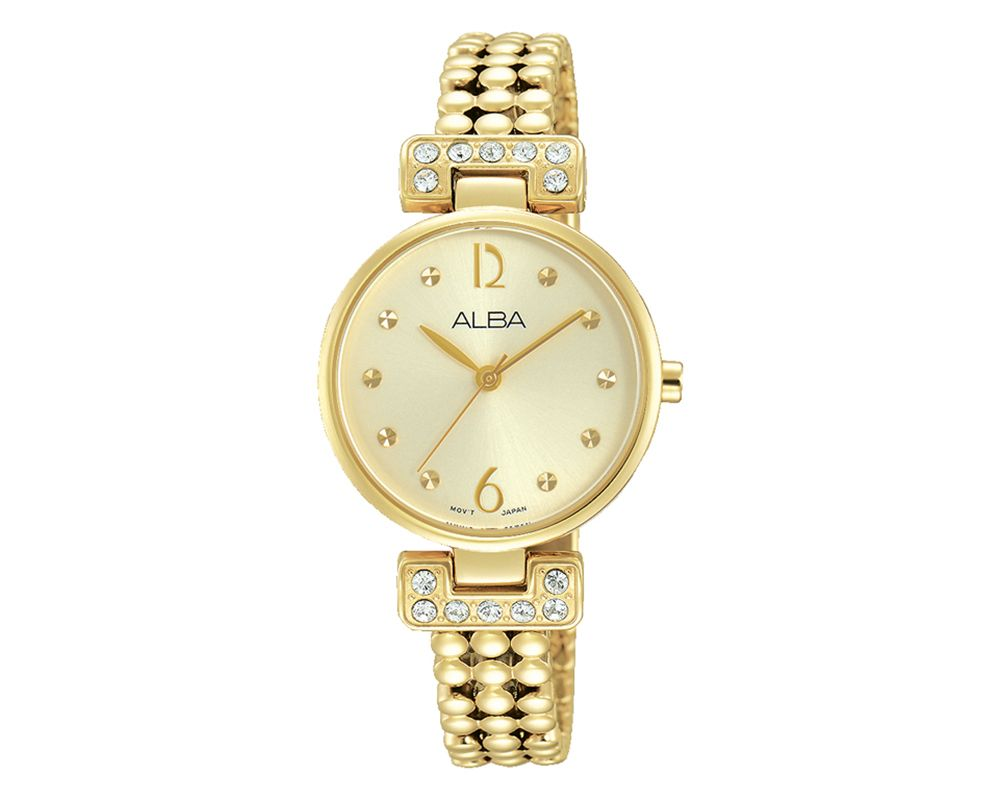 ALBA Ladies' Hand Watch Fashion Stainless Steel Band & Champagne Dial AH8278X1