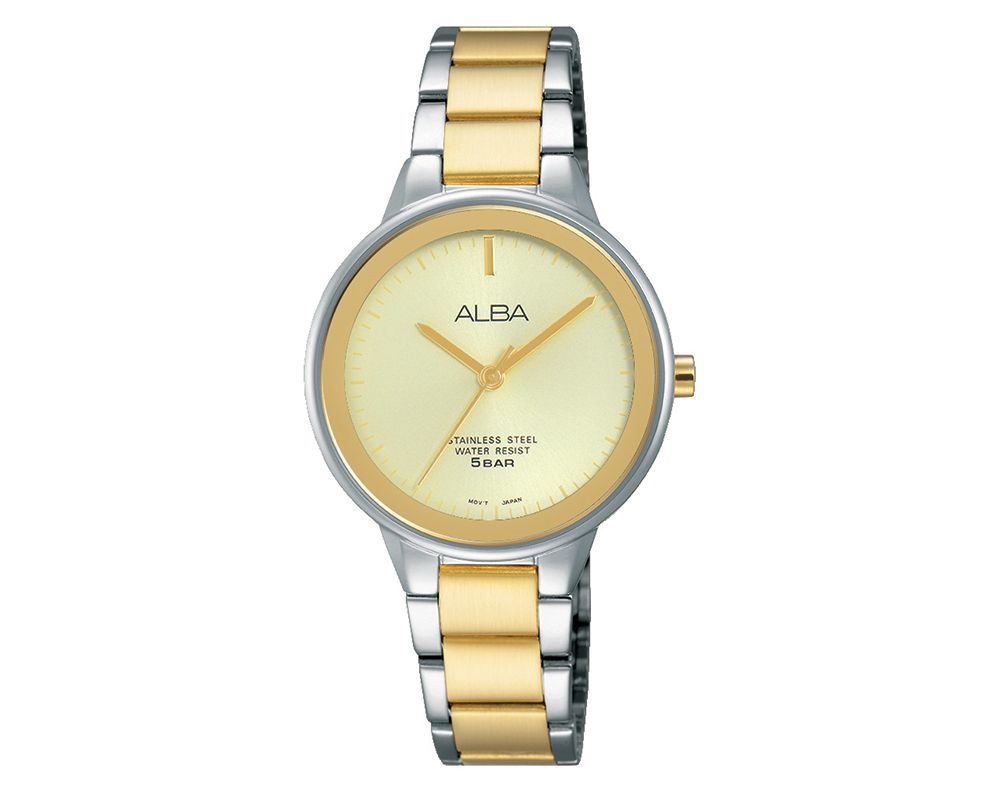 ALBA Ladies' Hand Watch Fashion Stainless Steel Band & Champagne Dial ARSY77X1