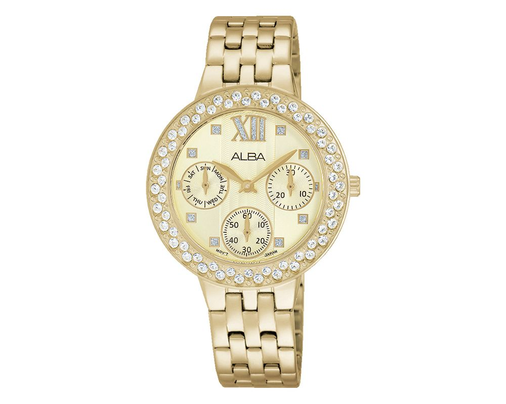 ALBA Ladies' Hand Watch Fashion Stainless Steel Band & Champagne Patterned Dial AP6456X1