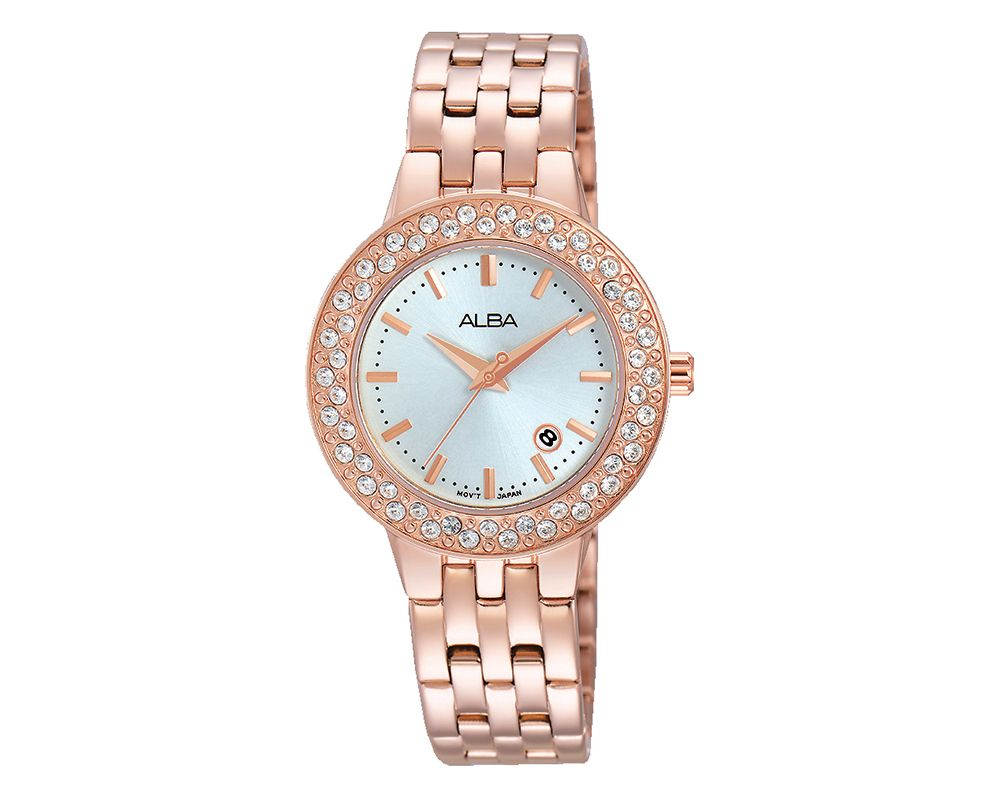 ALBA Ladies' Hand Watch Fashion Stainless Steel Band & Silver White Dial AH7H32X1