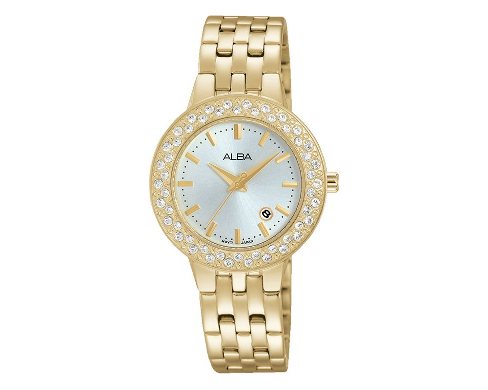 ALBA Ladies' Hand Watch Fashion Stainless Steel Band & Silver White Dial AH7H36X1