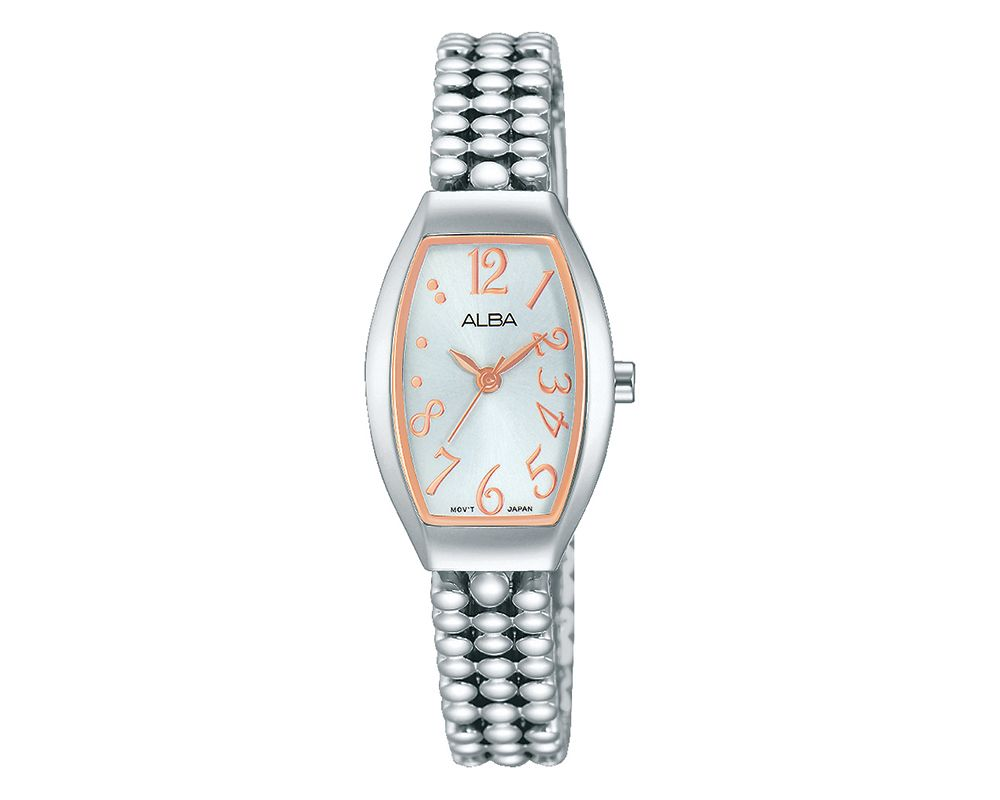 ALBA Ladies' Hand Watch Fashion Stainless Steel Band & Silver White Dial AH8249X1