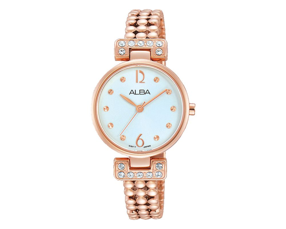 ALBA Ladies' Hand Watch Fashion Stainless Steel Band & Silver White Dial AH8262X1