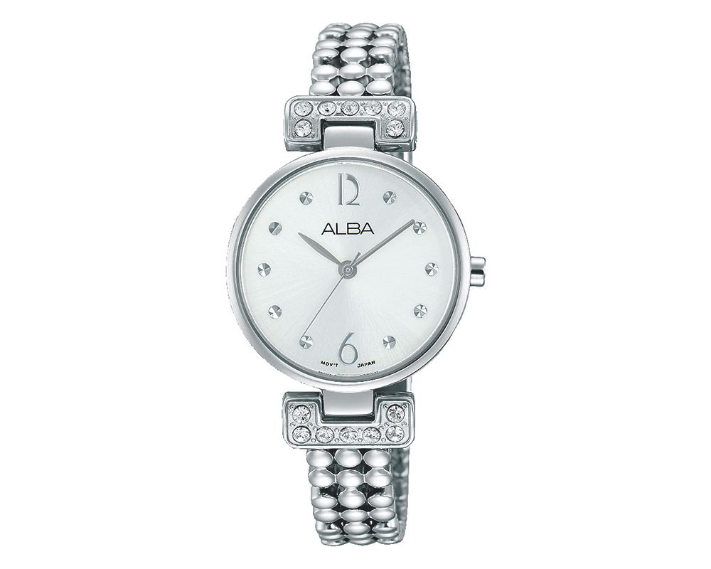 ALBA Ladies' Hand Watch Fashion Stainless Steel Band & Silver White Dial AH8273X1