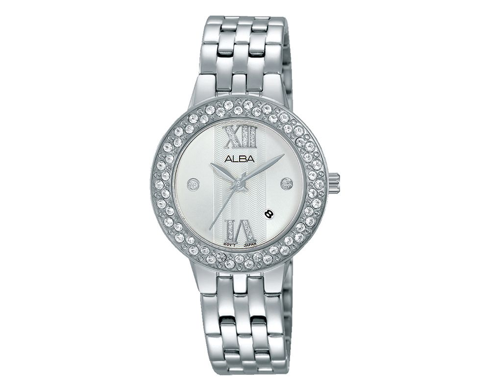 ALBA Ladies' Hand Watch Fashion Stainless Steel Band & Silver White Patterned Dial AH7H45X1