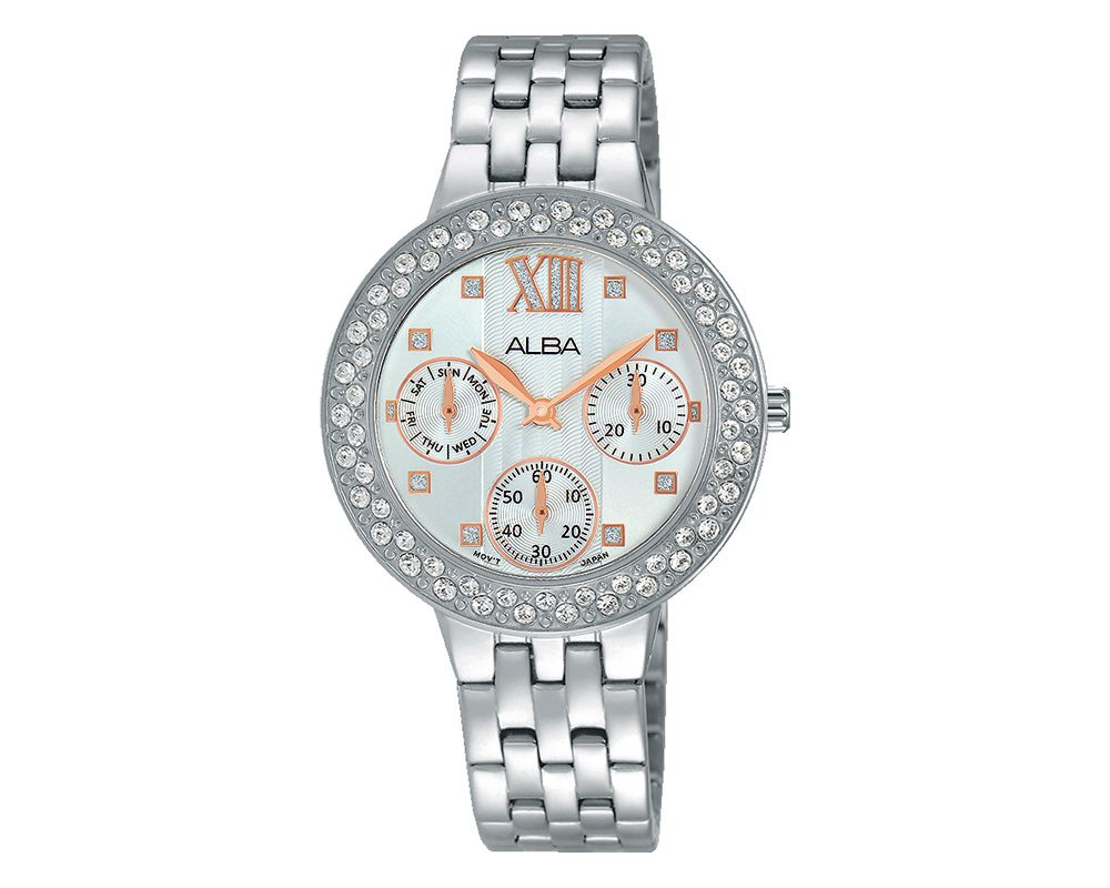 ALBA Ladies' Hand Watch Fashion Stainless Steel Band & Silver White Patterned Dial AP6457X1