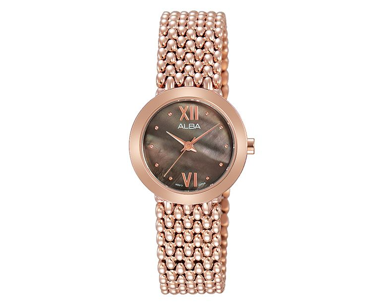 ALBA Ladies' Hand Watch FASHION Stainless Steel Bracelet and Brown MOP Dial AH8286X1