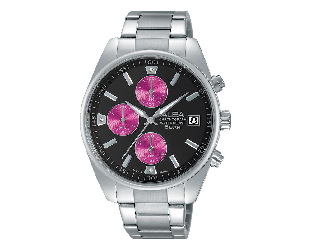 ALBA Ladies' Hand Watch PRESTIGE Stainless Steel Band And Black Dial & Water Resistant AM3219X1