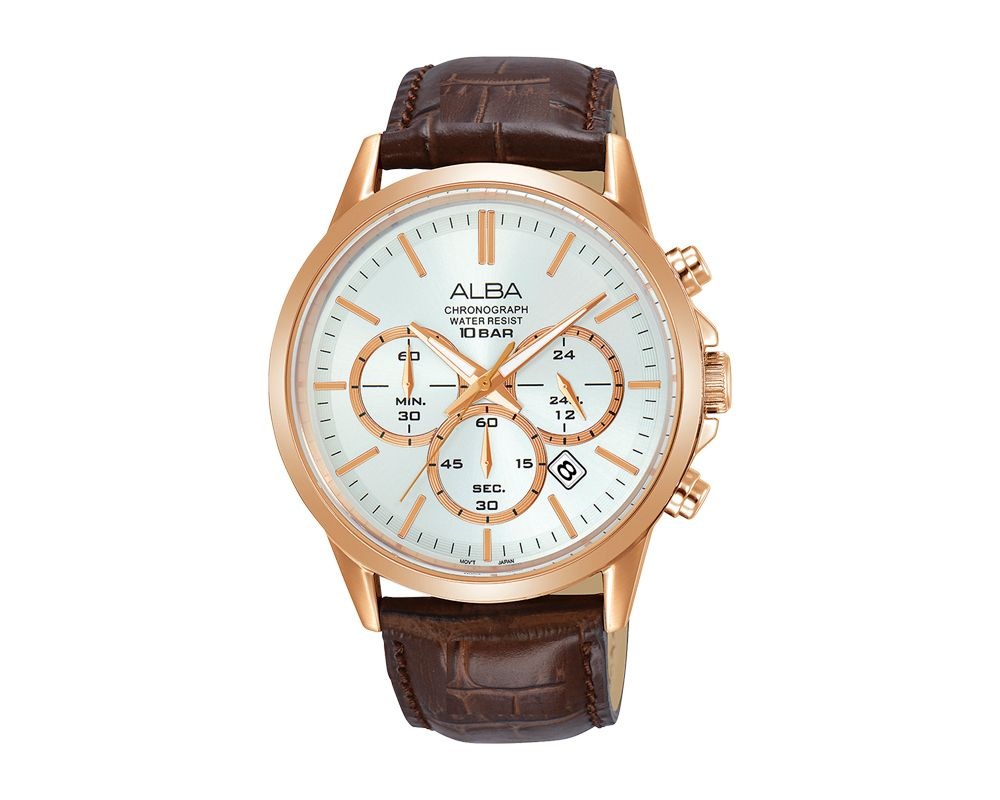 ALBA Men's Hand Watch PRESTIGE Brown Leather Strap and Silver White Dial AT3B94X1