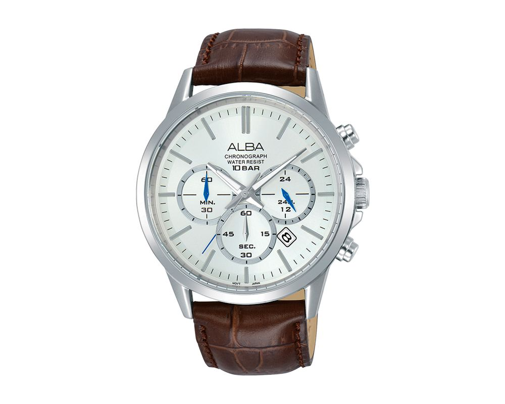 ALBA Men's Hand Watch PRESTIGE Brown Leather Strap and Silver White Dial AT3B99X1