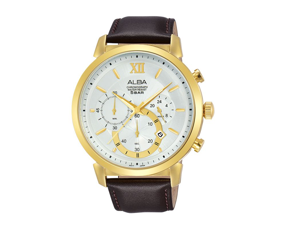 ALBA Men's Hand Watch PRESTIGE Brown Leather Strap and Silver White Dial AT3C42X1