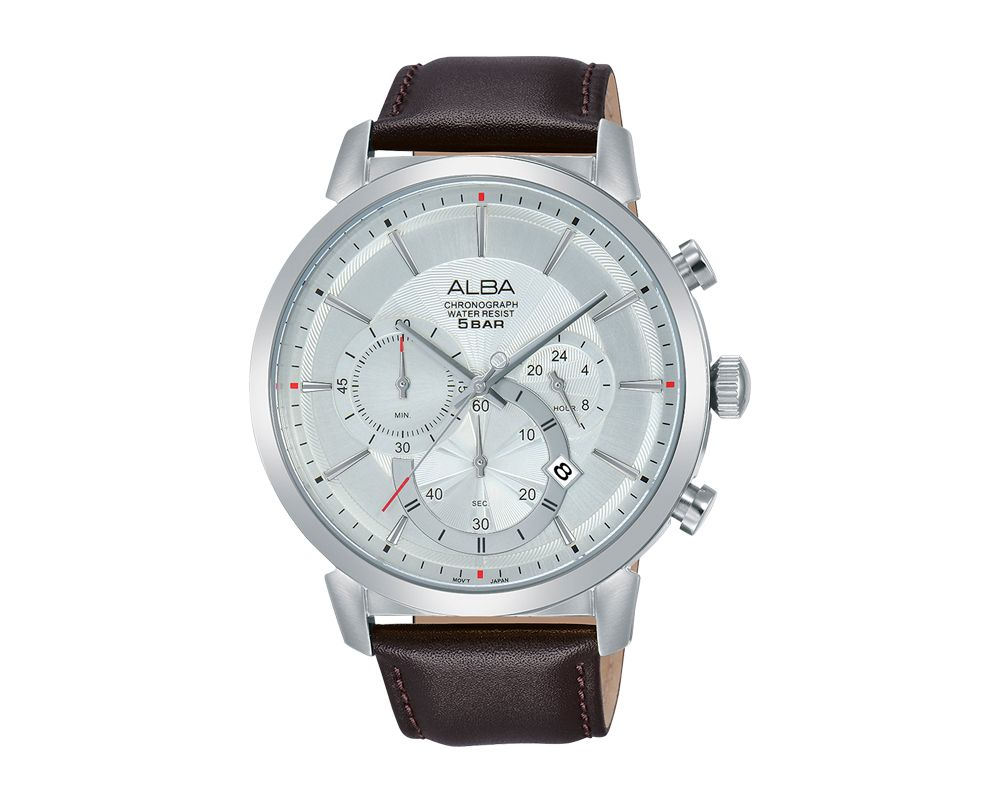 ALBA Men's Hand Watch PRESTIGE Brown Leather Strap and Silver White Dial AT3C45X1