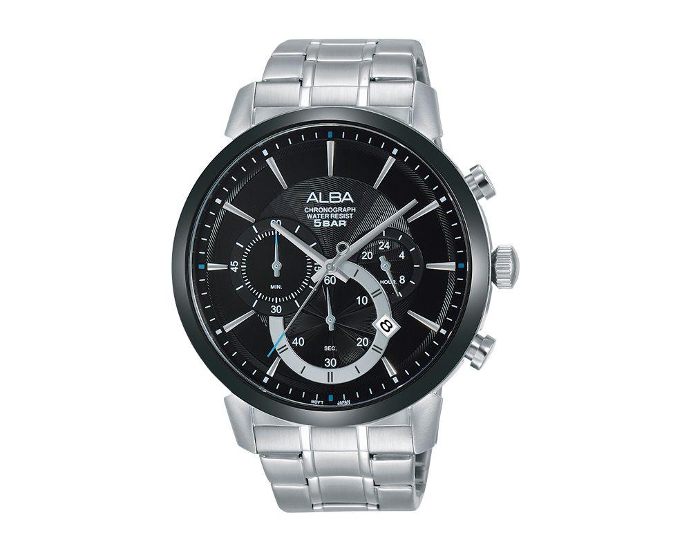 ALBA Men's Hand Watch PRESTIGE Stainless Steel Bracelet and Black Dial AT3C35X1