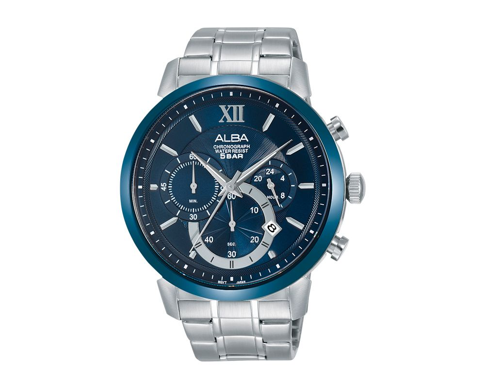 ALBA Men's Hand Watch PRESTIGE Stainless Steel Bracelet and Blue Dial AT3C37X1